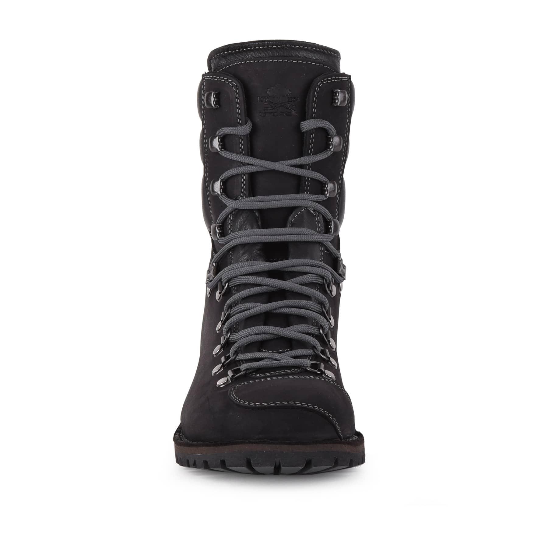 Biker Boot AdventureSE Denver Black, zwarte dames boot, grijs stiksel