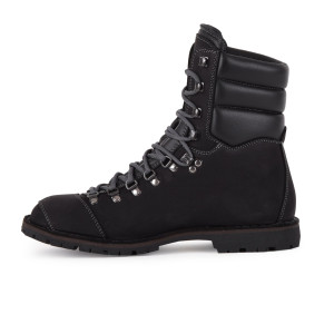 Biker Boot AdventureSE Denver Black, zwarte heren boot, grijs stiksel