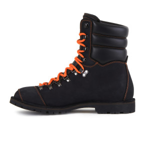 Biker Boot AdventureSE Denver Black, zwarte heren boot, oranje stiksel
