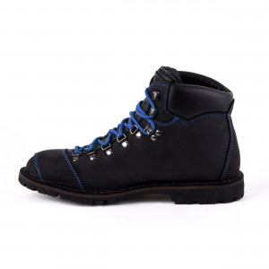 Biker Boot Adventure Denver Black, zwarte heren boot, blauw stiksel