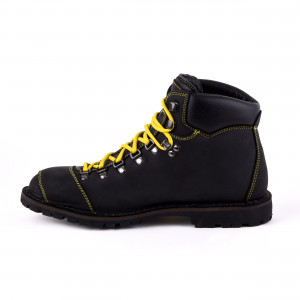 Biker Boot Adventure Denver Black, zwarte heren boot, geel stiksel