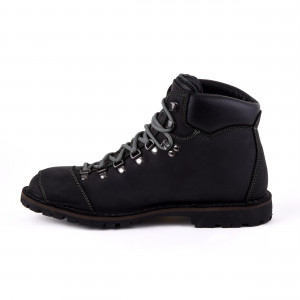Biker Boot Adventure Denver Black, zwarte heren boot, grijs stiksel
