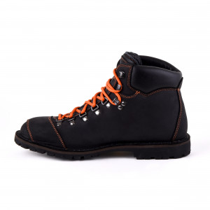Biker Boot Adventure Denver Black, zwarte heren boot, oranje stiksel