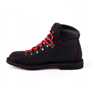Biker Boot Adventure Denver Black, zwarte heren boot, rood stiksel